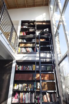 I think I have a thing for walls of books with ladders...