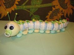 Diaper Caterpillar - such a cute idea for a baby gift