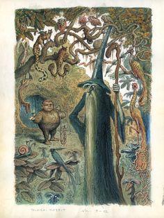 "Peter Klúcik - Illustrations for unpublished version of J. Tolkien's ""The Hobbit"" 1990 Tolkien Hobbit, Tolkien Books, O Hobbit, The Hobbit Animated, Create Picture, Fantasy Illustration, Fantastic Art, Fantasy World, Fantasy Books"