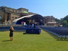 Buckingham Palace. The Queen's Coronation Festival. Stage for performers.