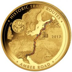 "Cameroon 2017 - 10.000 Francs Amber Road Historic Trade Routes ""1"" - 5 Oz Gold Coin"