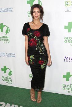 Emily Ratajkowski wearing Dolce & Gabbana Rose Print Applique Dress and Dolce & Gabbana Criss Cross Strap Sandals