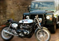 Motorcycle is to go fast. Car  is to go slow ... but to get where doesn't come the motorcycle.Triumph-Triton and Land Rover