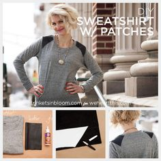 DIY Sweatshirt with Leather Shoulder Patches | we heart this | we heart this