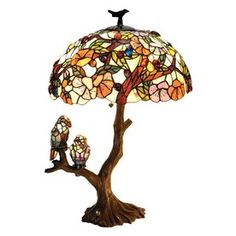 Chloe Lighting Birds 29-in 3-Way Bronze Tiffany-Style Indoor Table Lamp with Glass Shade