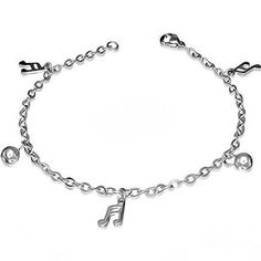 """Stainless Steel Silver-Tone Music Musical Clef Adjustable Link Chain Bracelet. """"Clef Charm Clasp"""" by My Daily Styles. Material: Stainles Steel. Length: 7.00in. Max. Width: 0.55in. Origin: Imported."""