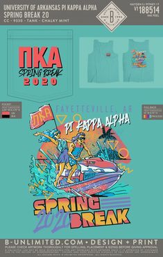 Pi Kappa Alpha Spring Break Shirt   Fraternity Event   Greek Event #pikappaalpha #pike Pi Kappa Alpha, University Of Arkansas, Fraternity, Spring Break, All Design, Greek, Logos, Type, Shirts