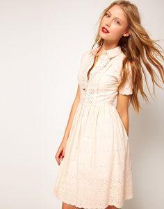 Embroidered shirt dress.