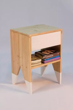 mesa de luz - madera maciza - alamo - tender