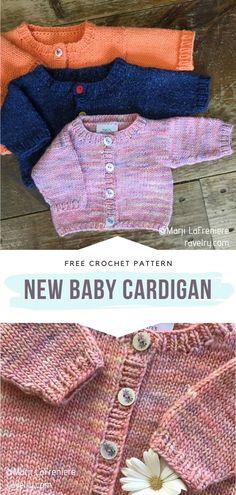 Free Baby Sweater Knitting Patterns, Knit Cardigan Pattern, Knitted Baby Cardigan, Knit Baby Sweaters, Knitted Baby Clothes, Baby Patterns, Free Knitting, Baby Knits, Sweater Patterns
