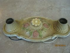 Vintage Markel Products Dated 3 29 27 Light Fixture Floral Design All Original | eBay