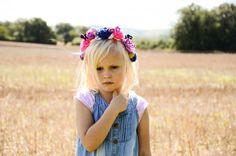 Blue pink black and purple crochet flower crown by WaffleandNeep