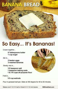 How To Make Banana Bread - just baked this today; so easy and turned out delicious. I used very ripe bananas, baked at for 55 minutes. Perfectly brown on the outside, moist on the inside. Also, a (Banana Recipes Easy) Just Desserts, Delicious Desserts, Yummy Food, Tasty, East Dessert Recipes, Picnic Recipes, Baking Desserts, Health Desserts, Dinner Recipes