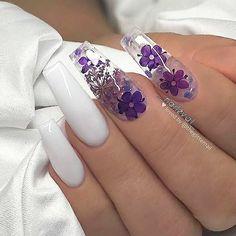 Chic Natural Gel Nails Design Ideas For Coffin Nails - white Gel coffin nails long, natural gel nails design, gel nai Nail Swag, Perfect Nails, Gorgeous Nails, Pretty Nails, Dope Nails, My Nails, Bling Nails, Glitter Nails, Natural Gel Nails