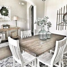 If you are looking for Farmhouse Dining Room Design Ideas, You come to the right place. Below are the Farmhouse Dining Room Design Ideas. This post ab. French Country Dining Room, Farmhouse Dining Room Table, Dining Room Table Decor, Dining Room Design, Dining Room Furniture, Living Room Decor, Farmhouse Decor, Rustic Table, Modern Farmhouse