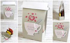 """Verpackung für Tee in """"Tea to Go"""" - Optik, gemacht mit Produkten von Stampin' Up! Vollkommene Momente Stempel Teestunde Stanzen ++++ Stampin' Up! Tea Box """"Tee / Coffee to Go"""" A Nice Cuppa Cups & Kettle Framelits Dies"""