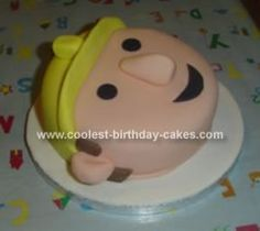 Homemade Bob the Builder Cake: I made this Bob the Builder cake for my Godson's 2nd birthday. I used a little 6 sponge cake and covered it with flesh coloured sugar paste (I coloured