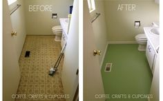 you can paint linoleum! Gret idea to give the downstairs bathroom a little facelift.