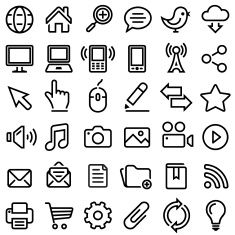 Internet royalty-free vector graphics Black and White vector icon set vector art illustration