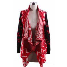 Red Draped Collar Geo Tribal Pattern Open Cardigan