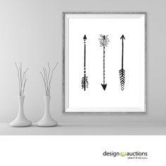 3 arrows tribal art printable art arrow feather minimalist art home decor boho art bohemian