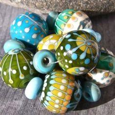 MruMru 'Greener on the Other Side' lampwork beads - Las Palmas, Spain.  -kc