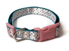 Large Dog Collar  Multicolored Polka Dot
