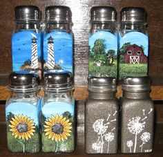 Hand Painted Salt and Pepper Shaker Sets  by SistersInArtNewberry