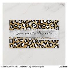 Silver and Gold Foil Leopard Brush Stroke Business Card Online Gifts, Zazzle Invitations, Brush Strokes, Gold Foil, Business Cards, Personalized Gifts, Create Yourself, Recycling, Anna Lee