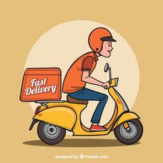 Hand drawn delivery man on scooter Foodtrucks Ideas, Delivery Man, Delivery Food, Free Delivery, Library Icon, New Foto, Retro Scooter, Graffiti Cartoons, Isometric Design