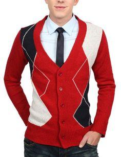 Doublju Mens Argyle Button Cardigan Sweater - Appealing Apparel: Sale: $14.99  CHEAP!