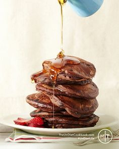 Perfect for your holiday brunch table!! Chocolate Pancakes from UnDiet cookbook @rickiheller