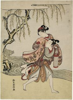 (Japan) The Elopement by Suzuki Harunobu 鈴木春信. woodblock print.
