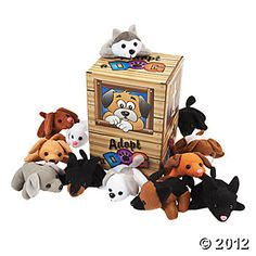 Mini Bean Bag Dog Pound Assortment $28 for 24 dogs and the adopt sign