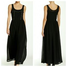 LAST CHANCE || Flowing Black Studded Maxi Dress Scoop neck, long dress with front studded detail. Sleeveless. Side zip closure. New with tags. Size small. L'Atiste Dresses Maxi