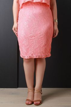 Semi-Sheer Floral Lace Pencil Skirt