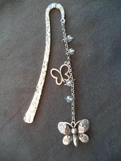 Marque pages métal avec cristaux swarovski et papillon argenté