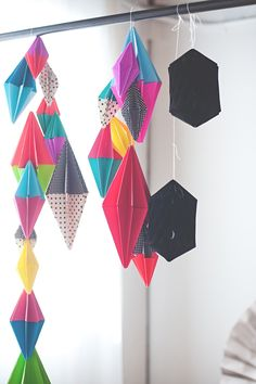 Throw a Diamond party with this bold paper diamond party garland. The paper folds are easy - for a graphic and gorgeous diamond party decoration.