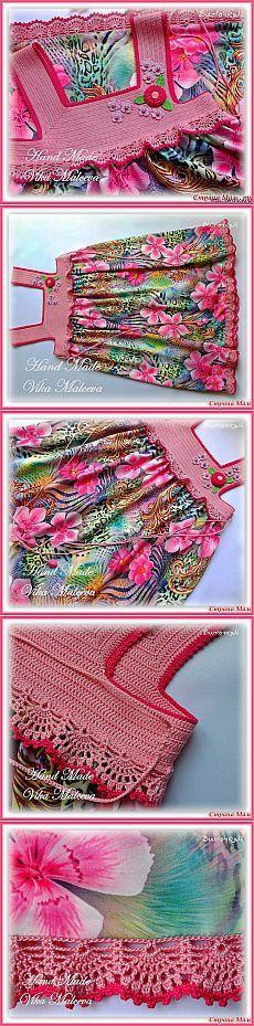 Комбинированный сарафан *Цветочная феерия* для девочки связанный крючком.