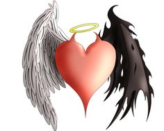 heart angel devil wings tattoo flash