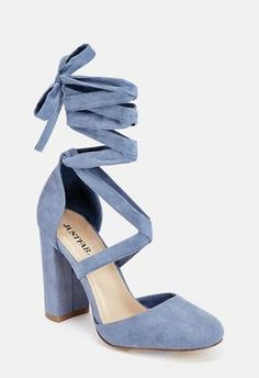 Turn up the heat in these ready-to-slay faux suede heels with a block heel and ankle tie closure. Fancy Shoes, Trendy Shoes, Formal Shoes, Tie Up Heels, Blue Heels, Suede Heels, Shoes Heels, Stiletto Heels, Just Keep Walking