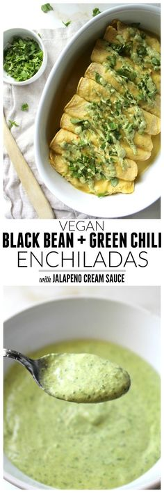 Black Bean Green Chili Enchiladas with Vegan Jalapeno Cream Sauce | ThisSavoryVegan.com