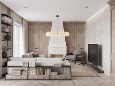 A neutral color palette that mixes classical style architecture with modern pieces.