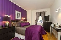 master bedroom. Love the purple.