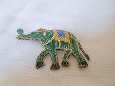 Vintage tiny Sterling enamel Elephant brooch by houuseofwren