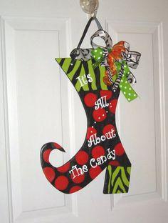 Wooden Door Hanger Witch's Boot