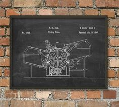 Hoe's Printing Press Patent Wall Art Poster by QuantumPrints