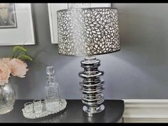 Lampshade Upgrade Using Placemats Glam Lamps, Diy Lamps, 2nd Hand Furniture, Rustoleum Metallic, Decorative Lamp Shades, Concrete Candle Holders, Bubble Chandelier, Dollar Tree Decor, Handmade Lamps