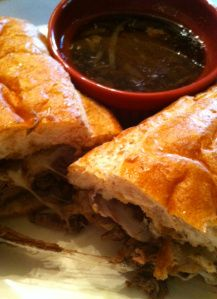 Crockpot French Dip Sandwiches. I made these tonight and they were UH-mazing! I added about 3/4 cup red wine and a bit of worsh. Mouth watering! -ND