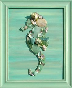 Mosaic Seahorse -- Could do sea glass mosaic in a frame like this maybe even between glass